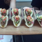 Chef Victor Albisu of Del Campo: Roasted Lamb and Clam Taco with Border Springs Lamb Shank, Grilled Clam Salsa Verde, Grilled Guacamole.