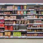 The gluten-free section at Tesco spanned the entire wall of the grocery store.