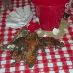 First Course: Crabs! Now, smack it with a mallet!