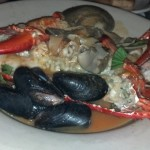 Entrée: 7 Fish Stew (Lobster, Squid, Conch (Scungilli), Clams, Shrimp & Mussels.