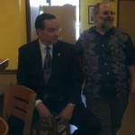 Mayor Gray and Dino at Dino's Groto ribbon cutting.