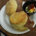 Macon Bistro and Larder: Biscuit with pepper jelly and ham,  and deviled egg.
