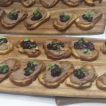 Del Campo Smoked Chicken Liver Crostini Burnt Chilean Blackberry and Malbec Mostrada