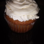 Completed  pumpkin cupcake with bourbon frosting
