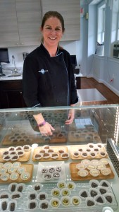 Kim Gustafson of the new Blüprint Choclatiers on King Street! She creates great chocolate connfections & carries great coffee and teas as well.