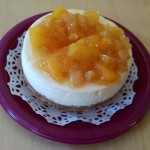 This cheesecake is covered in a mango & pineapple topping Tracy makes in-house.