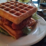 Fried Chicken and Waffle Sandwich (Crispy Buttermilk Brined Chicken,  Belgium Wafes, Picante Vermont Maple Butter)
