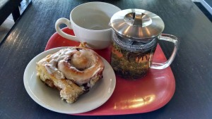 Northside Social's Cinnamon Roll & Hot Tea Were a Great Snack!
