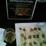 The smoked clams drew me in and were pared with a delicious Dogfish Head brew.