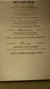 Crab & Beer Menu