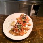 """EVERYTHING"" WAFFLE: Norwegian smoked salmon, dill crème fraiche, salmon roe"