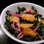 TUSCAN KALE SALAD: Navel orange, pine nuts, pickled red onions, citrus vinaigrette
