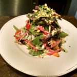 CITY PERCH SALAD: Young field greens, English cucumbers, toybox tomato, honey-citrus vinaigrette, candied almonds